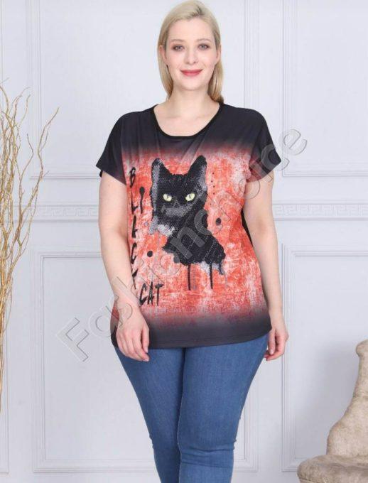 Макси блузка с апликация от камъчета BLACK CAT