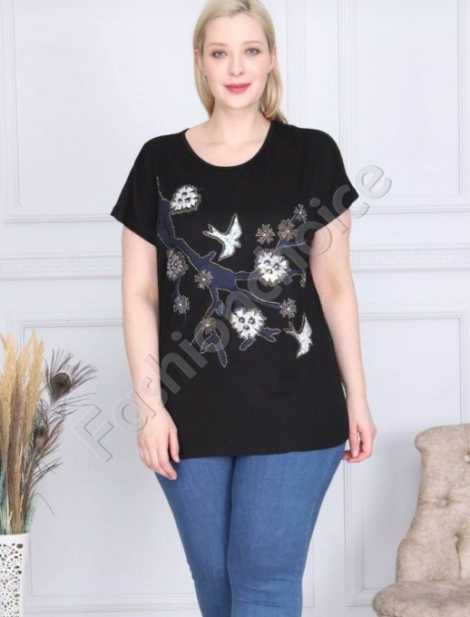 Макси блузка с апликация от камъчета и пайети