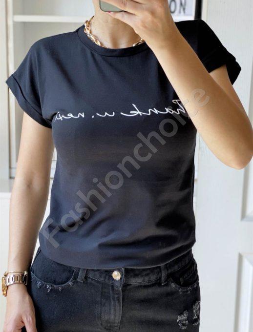 Дамска тениска с къс ръкав в черно-код 965-14