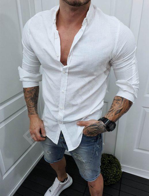 Мъжка памучна риза в бяло /М-5XL/-код 991-3