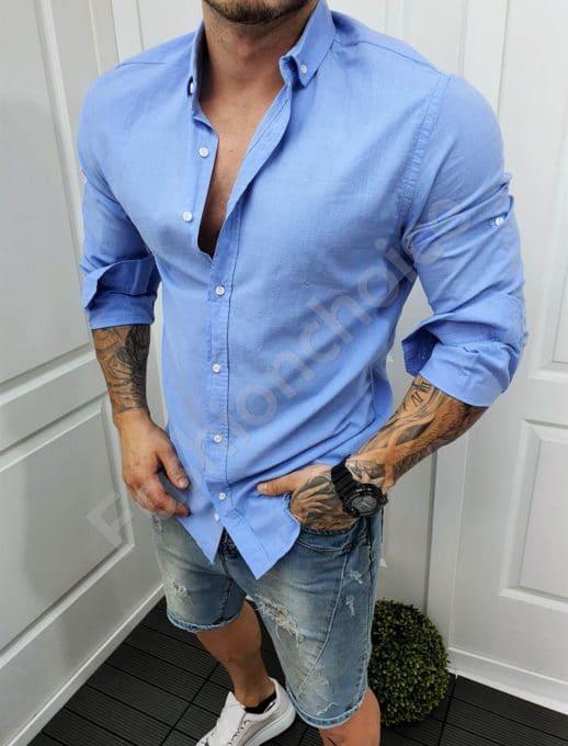 Мъжка памучна риза в синьо-код 991-5