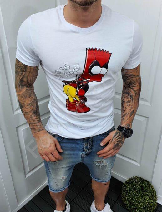 Мъжка бяла тениска със закачлива щампа-код 5186-1