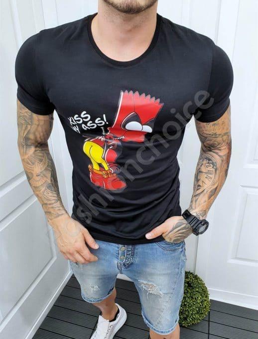Мъжка черна тениска със закачлива щампа-код 5186