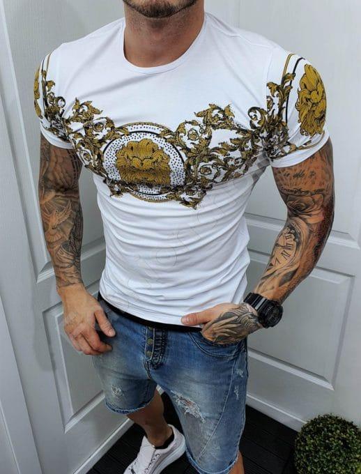 Мъжка тениска с моден принт и камъчета-бяло-код 985-5