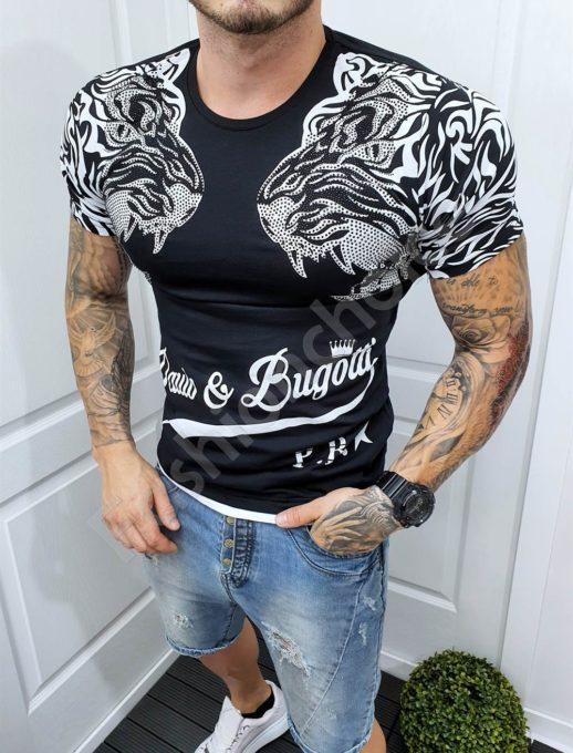 Мъжка тениска с щампа два тигъра и декорация с камъчета-код 985-2