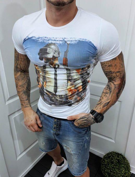 Мъжка тениска с интересен принт в бяло-код 985-7