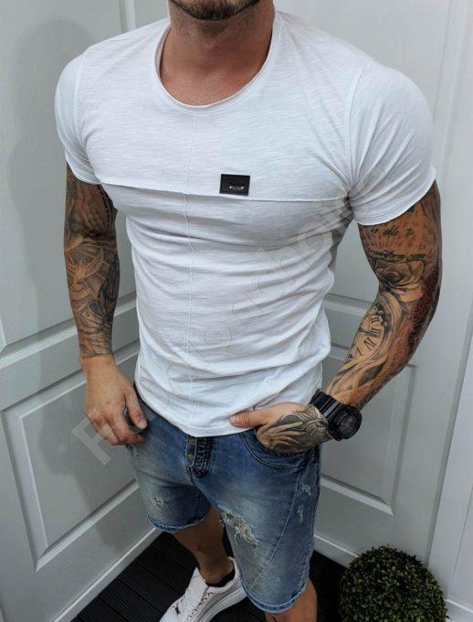 Мъжка едноцветна тениска в бяло-код 989-1