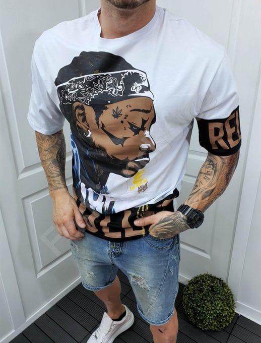 Мъжка тениска с интересна щампа в бяло-код 994