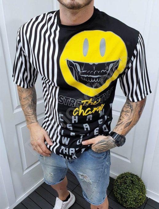 Мъжка тениска с интересен десен и емотикон-черно-код 994-2