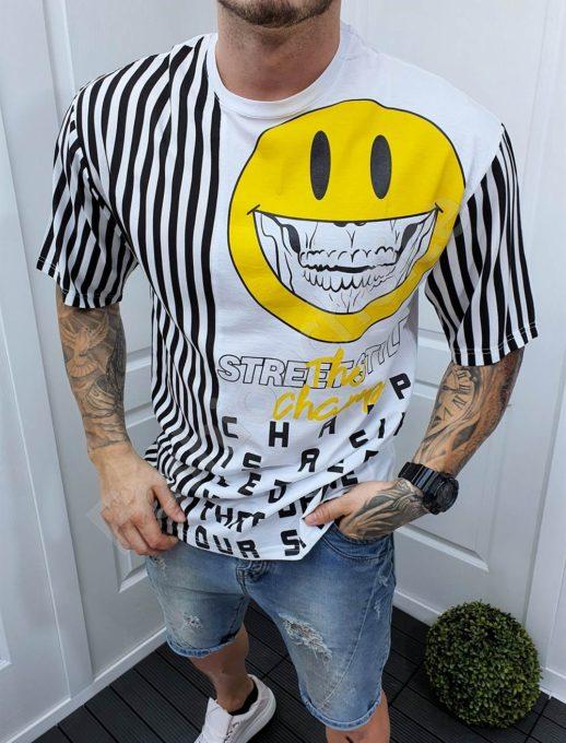 Мъжка тениска с интересен десен и емотикон-бяло-код 994-3