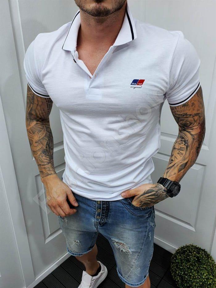 Мъжка блузка с якичка и емблема BLUE RED-бяло-код 149-3