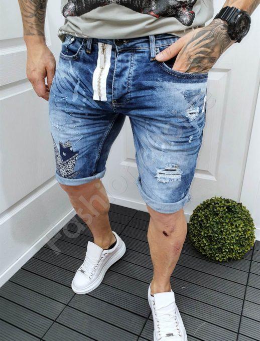 Мъжки къси дънки син деним с апликация и бял цип-код 9020-2