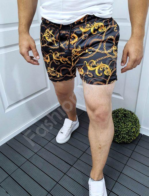 Мъжки къси плувни шорти в черно с моден принт-код 992