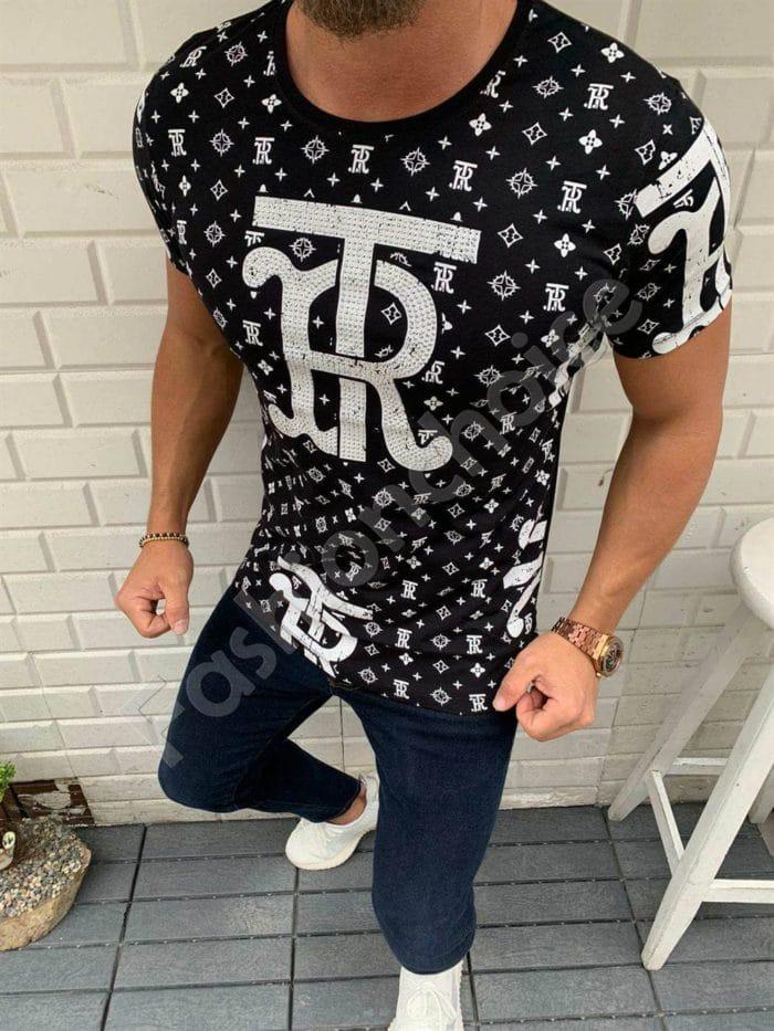Мъжка тениска TR в черно с камъчета-код 332-1