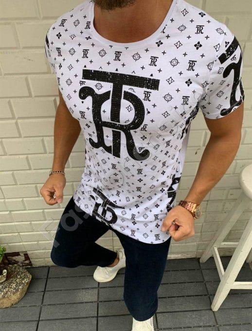 Мъжка тениска TR в бяло с камъчета-код 20332