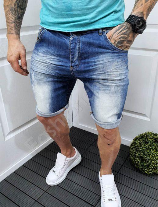 Мъжки къси изтъркани дънки с надран ефект-код 5101