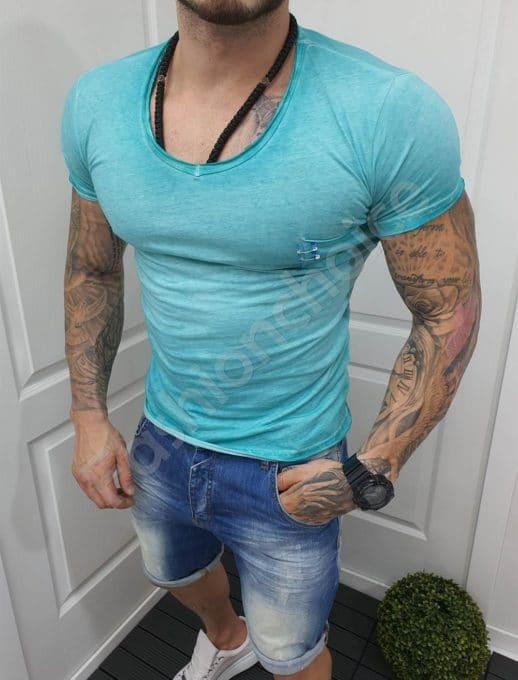 Едноцветна мъжка тениска с джобче-цвят мента-код 1004-2