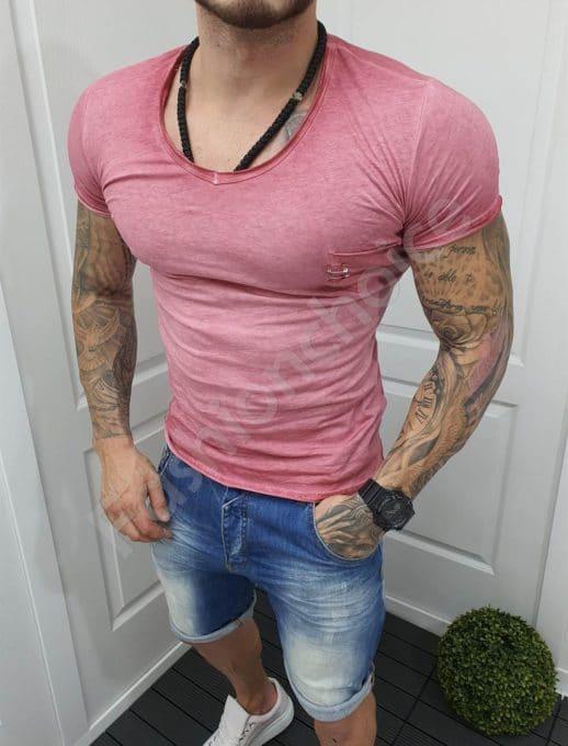 Едноцветна мъжка тениска с джобче-цвят малина-код 1004-1