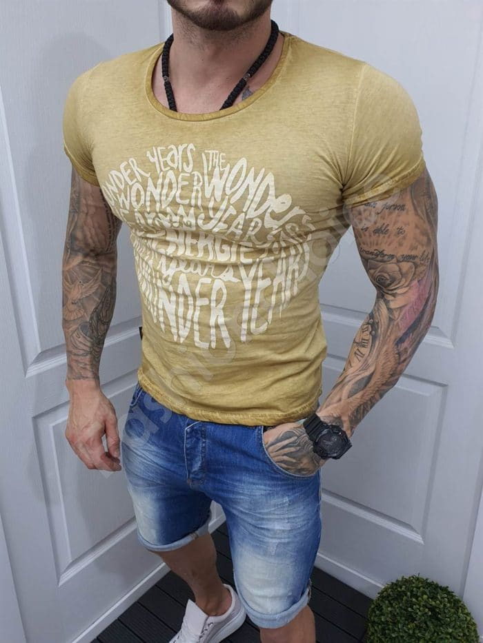 Мъжка тениска с надписи цвят тютюн-код 1004-5-1