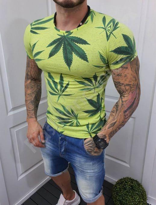 Мъжка тениска зелен неон с цветна щампа-код 20392-1