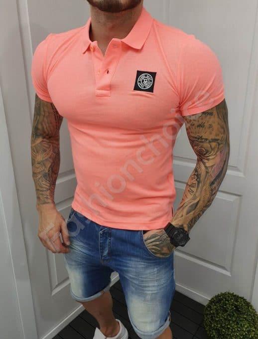 Мъжка тениска розов неон с якичка-код 5320-1