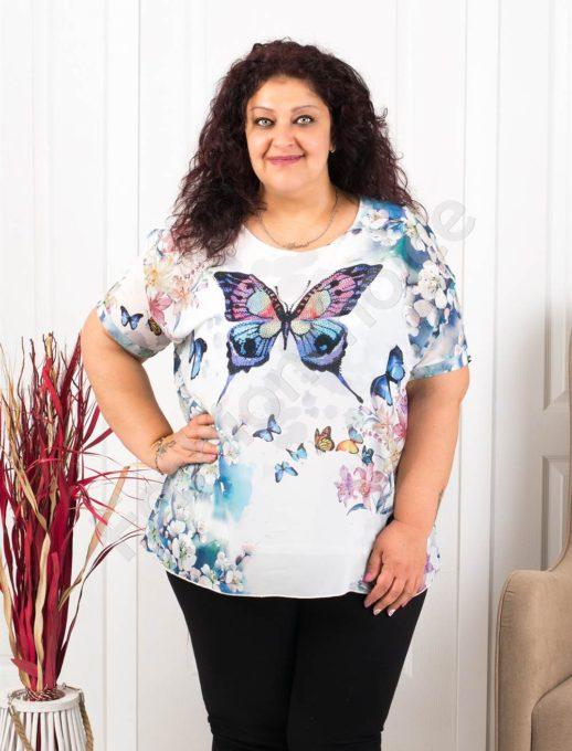 Свежа макси туника в десен на цветна пеперуда и сини цветя-код 105
