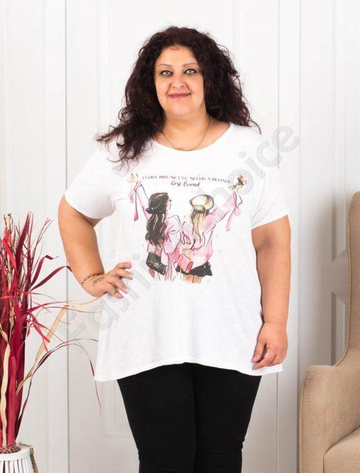Дамска макси блузка в бяло със свежа щампа момичета-код 614-1