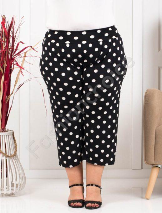Дамси макси панталон в 7/8 дължина-черно на бели точки-код 617