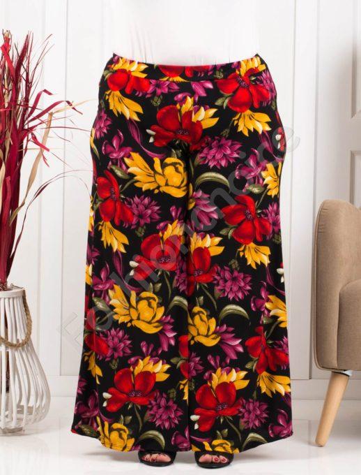 Дълъг макси пола-панталон в десен на червени цветя-код 618