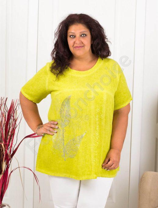 Дамска макси блуза с апликация цвете-цвят резеда-код 8113-2