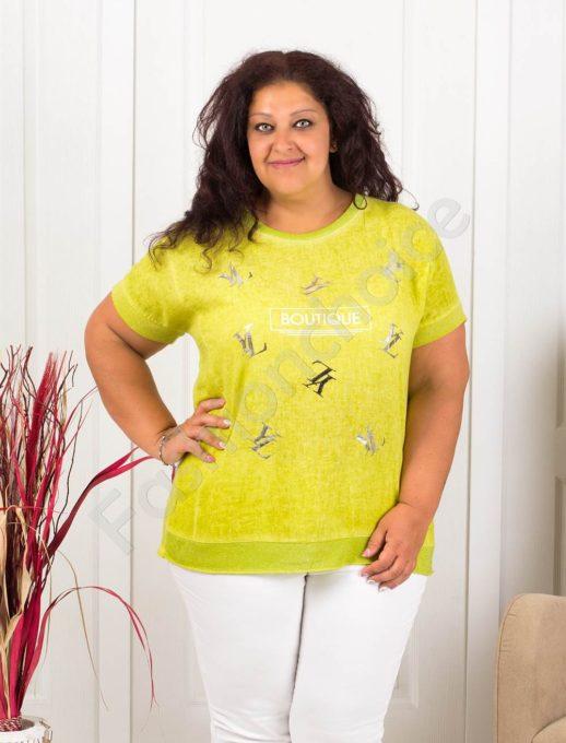 Нежна макси блузка с надпис BOUTIQUE-цвят резеда-код 1102-1