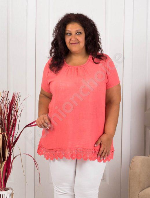 Прекрасна макси блуза с брюкселска дантела-цвят корал-код 632-3