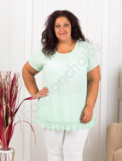 Прекрасна макси блуза с брюкселска дантела-цвят мента-код 632-2