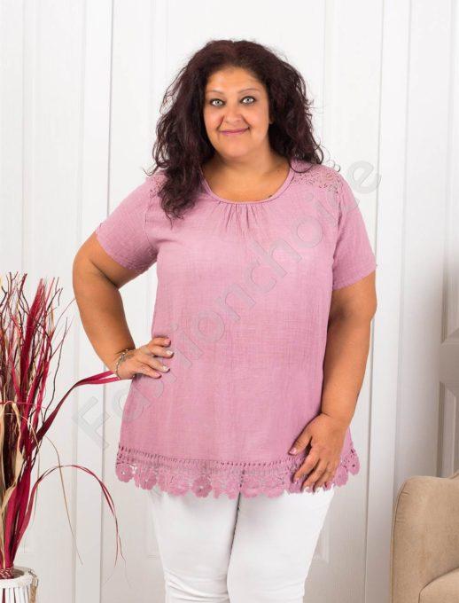 Прекрасна макси блуза с брюкселска дантела-пепел от рози-код 632