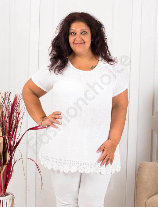 Прекрасна макси блуза с брюкселска дантела-бяло-код 632-4