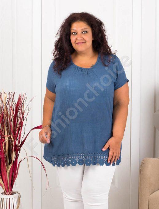 Прекрасна макси блуза с брюкселска дантела-цвят парламент-код 632-6