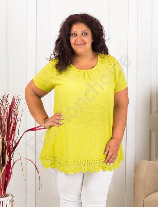 Прекрасна макси блуза с брюкселска дантела-цвят резеда-код 632-5