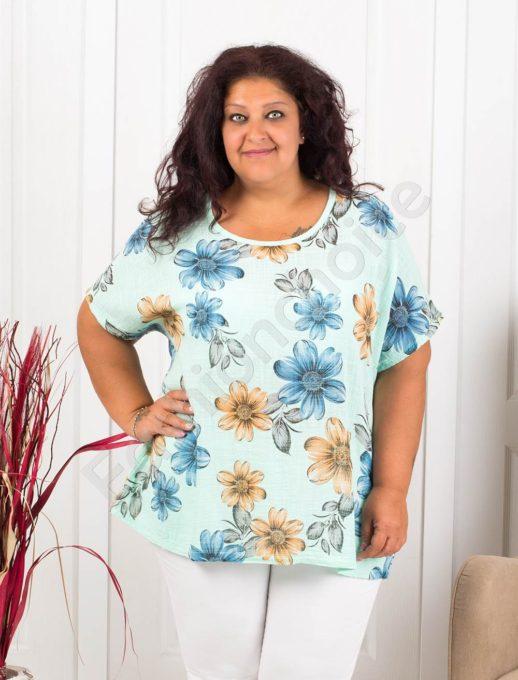 Красива дамска макси блуза на цветя-мента-код 633-3