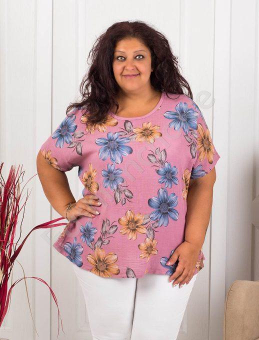 Красива дамска макси блуза на цветя-пепел от рози
