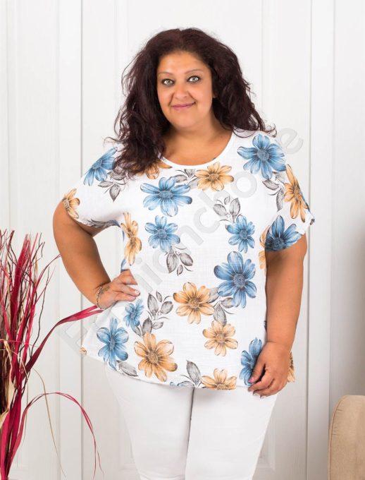Красива дамска макси блуза на цветя-бяло-код 633-1