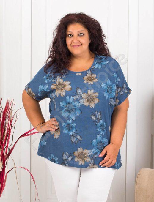 Красива дамска макси блуза на цветя-цвят парламент-код 633