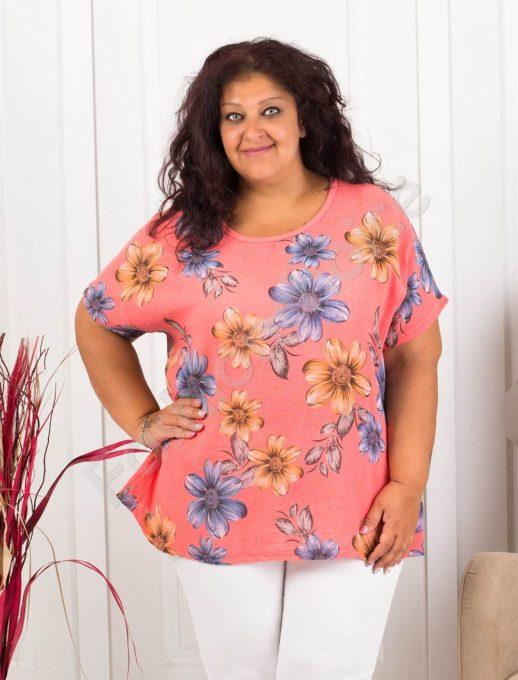 Красива дамска макси блуза на цветя-корал-код 633-2