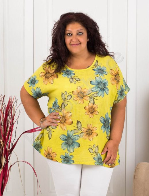 Красива дамска макси блуза на цветя-резеда-код 633-4