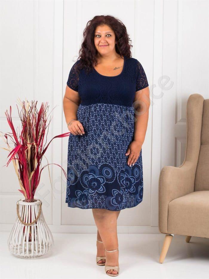 Лятна макси рокля с бордюр на цветя-тъмносиньо-код 622-3