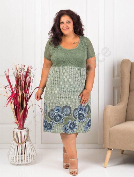Лятна макси рокля с бордюр на цветя-цвят каки-код 622-4