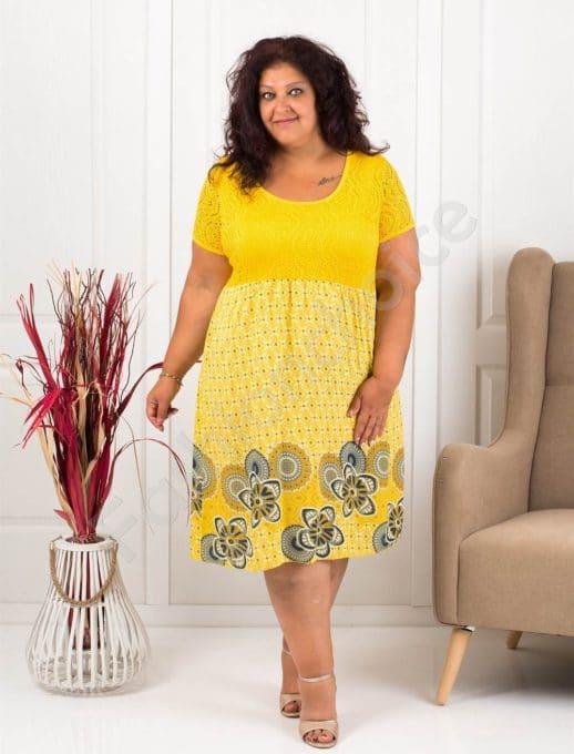 Лятна макси рокля с бордюр на цветя-жълто-код 622-2