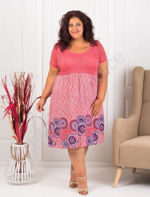 Лятна макси рокля с бордюр на цветя-корал-код 622