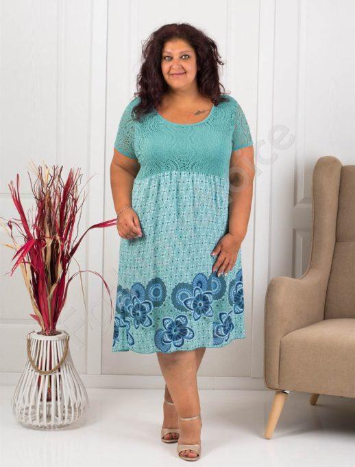 Лятна макси рокля с бордюр на цветя-мента-код 622-1