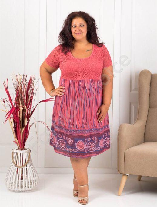 Лятна макси рокля с бордюр на фигури-цвят корал-код 622-5