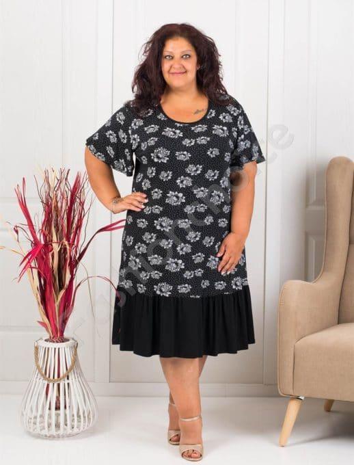 Елегантна макси рокля в десен на бели рози-черно-код 6105